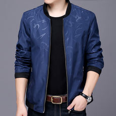 Spring and Autumn 2018 new spring men's jacket thin leisure collar collar men's business casual middle-aged jacket men
