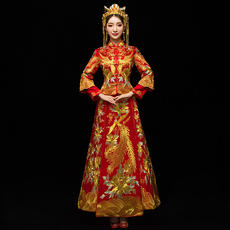 Show Wo clothing 2018 new Chinese dress wedding bride pregnant women toast clothing wedding dress large size out of the clothes