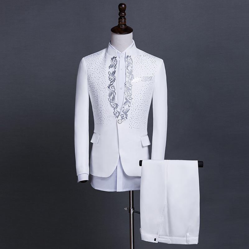 演出服男**立领亮片歌手主持人服装舞台大合唱男士礼服西服套装