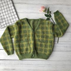 复古牛油果绿格子加厚短款洋气针织开衫水貂绒V领毛衣毛绒外套女