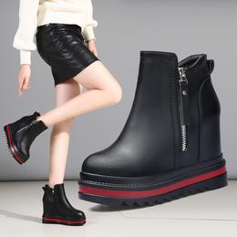 厚底短靴女秋冬季松糕鞋坡跟内增高马丁靴2018新款百搭女靴子女鞋