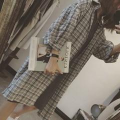 韩版春装女2018新款学院风宽松百搭休闲格子长款衬衫外套上衣学生