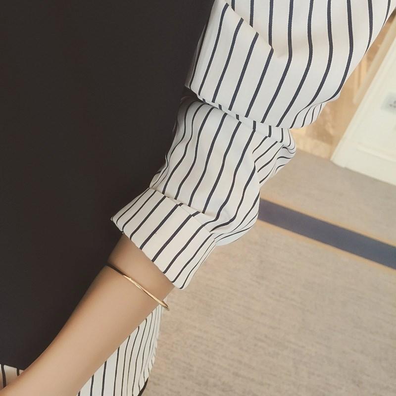 秋季中长款韩范衬衣学生韩版上衣学院风假两件百搭宽松长袖衬衫女