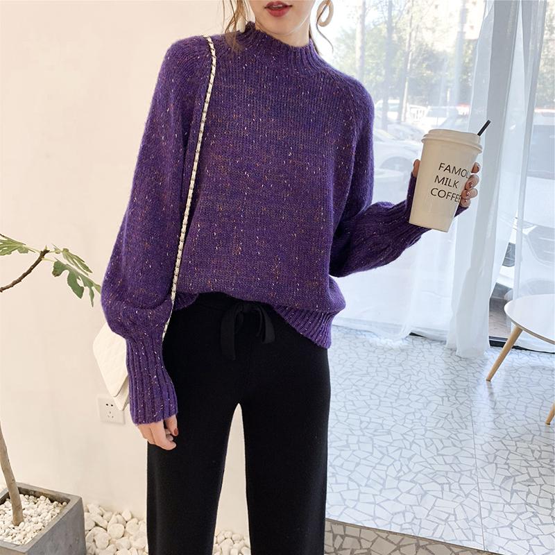 秋冬梦幻紫灯笼袖慵懒风套头半高领毛衣女2018新款学生宽松针织衫