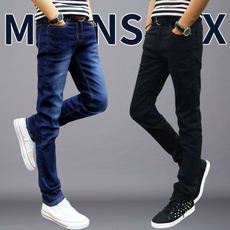 Summer thin section stretch jeans men's Slim men's feet pants black casual straight pants men Korean version of the trend