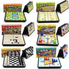 Children's Backgammon Flying Chess Checkers Chess Magnetic Folding Puzzle Game Chess Toys Kindergarten Gifts