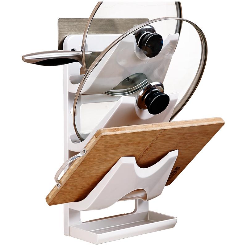 免打孔锅盖架厨房置物架壁挂式放锅盖的架子家用菜板砧板架收纳架