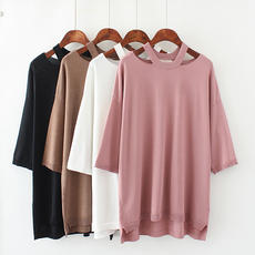 Large size female spring fat micro thin mm solid color round neck collar bottom seven-point sleeve sweater Han Fan age 2018
