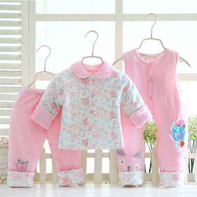 Thin cotton three-piece autumn and winter models cotton bib newborn set men and women baby cotton jacket out of service