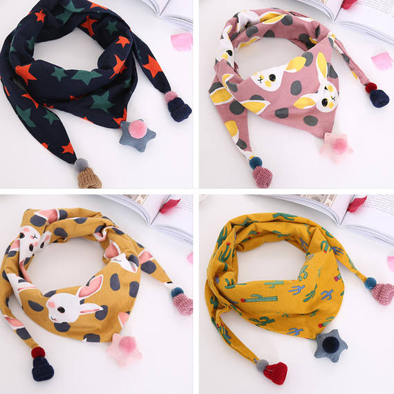 Children's scarves spring and autumn thin boys and girls baby cute wild cotton triangle towel winter baby warm scarf