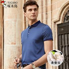 啄木鸟桑蚕丝短袖t恤男中年男士冰丝上衣夏季薄款条纹翻领polo衫
