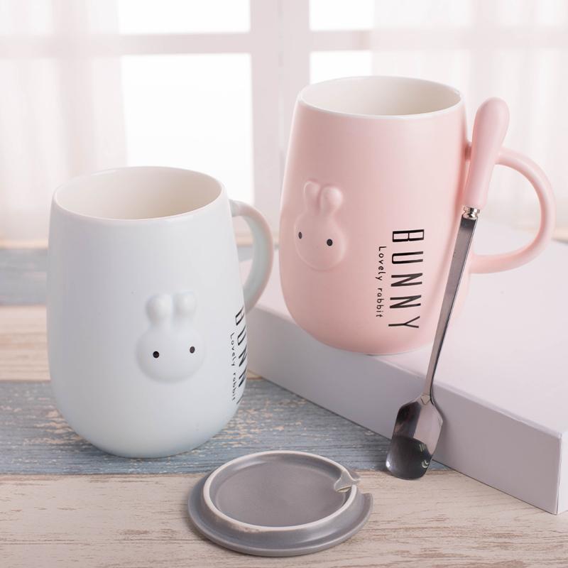 可爱杯子女陶瓷带盖勺超萌马克杯咖啡杯创意潮流个性情侣家用水杯