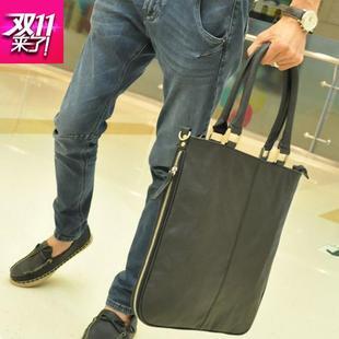 香港潮牌代购新款2018男包 时尚商务斜挎男士手提包 竖款软皮休闲