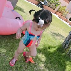 LUSON MO baby girl rainbow swimsuit summer new girl princess swimming clothes baby one-piece swimsuit