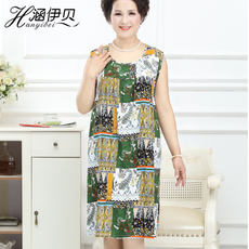 Middle-aged and elderly people summer cotton silk nightdress cotton silk pajamas cotton silk pajamas sleeveless dresses mother pajamas mother-in-law nightdress