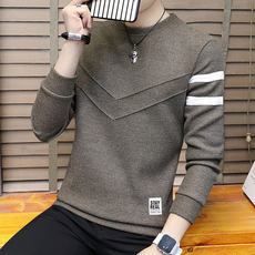Spring and autumn sweater men's thin section round neck pullover knit warm sweater men's Korean youth plus cashmere men's tide