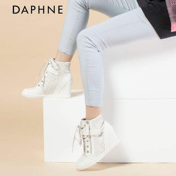 Daphne/ Daphne brand genuine lace Velcro zipper height female high shoes 1515605018