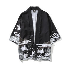 Japanese retro dark ukiyo-e painted robes cardigan kimono men and women Chinese style loose seven-point sleeve shirt coat tide