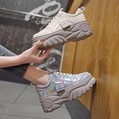 网红厚底松糕鞋欧洲站2019新款女鞋跟炫彩老爹鞋休闲单鞋港风