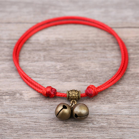 Anklet red rope student sweet newborn braided bell bracelet children's hand-woven rope kids braided line