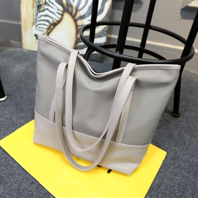 2017新款女包尼龙布配皮包简约休闲单肩包时尚拼接包百搭手提包包