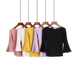 夏季T恤七分喇叭中袖修身上衣女2018新款紧身打底冰丝针织衫短袖