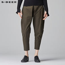 Sdeer San Dior 2018 spring casual casual simple solid color casual pants pants carrot pants S17380840