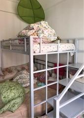 北欧风现代简约小户型上下床宿舍多功能楼阁高架单身公寓铁艺