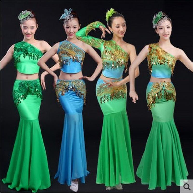 新款傣族舞蹈服装鱼尾裙舞少数民族演出服女现代舞表演服