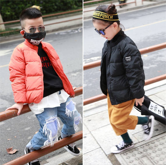 2018 winter new children's clothing children's down jacket boy Korean version of the simple girl short jacket baseball uniform jacket