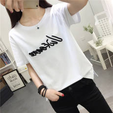 Ulzzang white short-sleeved bottoming shirt t-shirt female 2018 spring and summer new loose wild students embroidered shirt