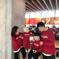 Lin Lin baby boy children's clothing winter clothes a family of four family mother and son father and son red letter sweater thick