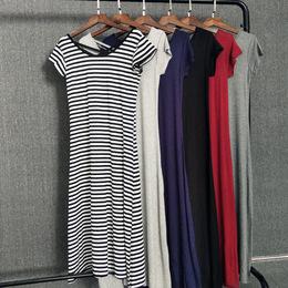 莫代尔短袖连衣裙2018夏春季新品宽松显瘦打底裙条纹长裙A字裙女