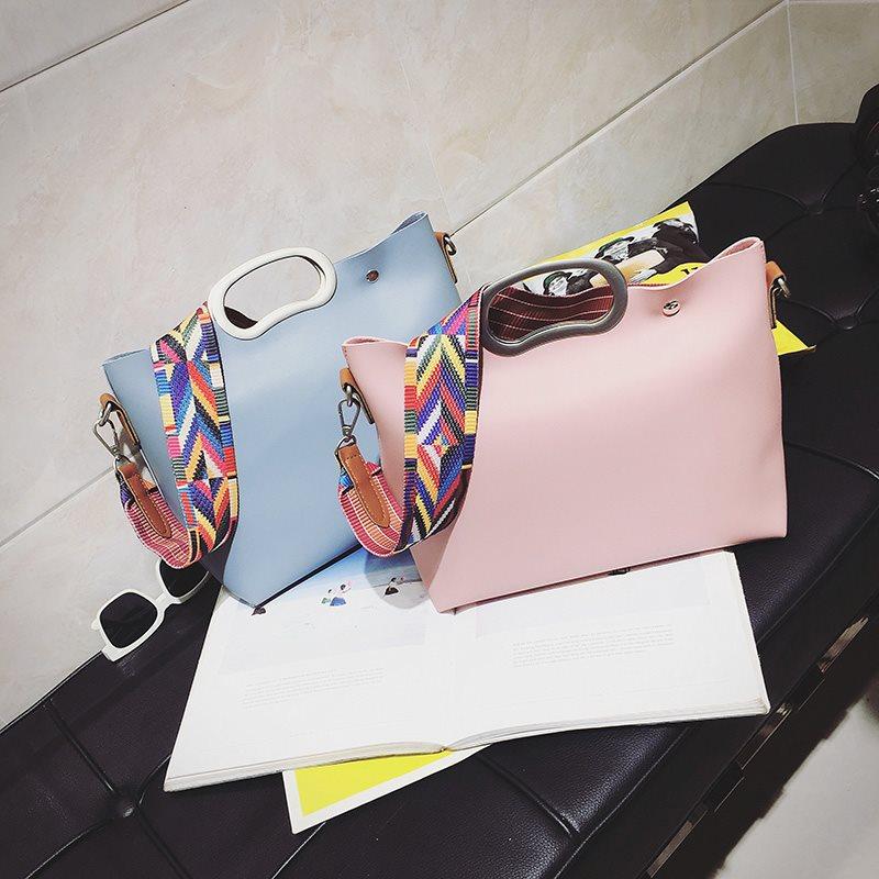 大包包2018新款韩版彩色肩带女包复古子母包单肩斜挎包女士手提包