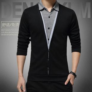 长袖T恤男韩版修身青年春秋季潮流衬衫领纯色衣服男士打底衫体恤