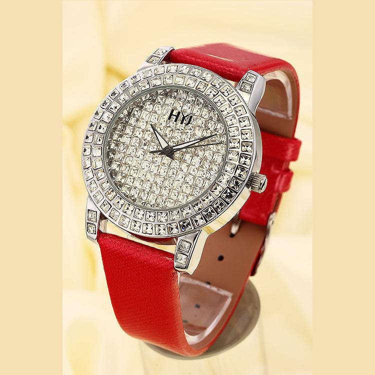 正品牌HYJ花园街5号 镶钻满天星女士手表女表皮带腕表H269