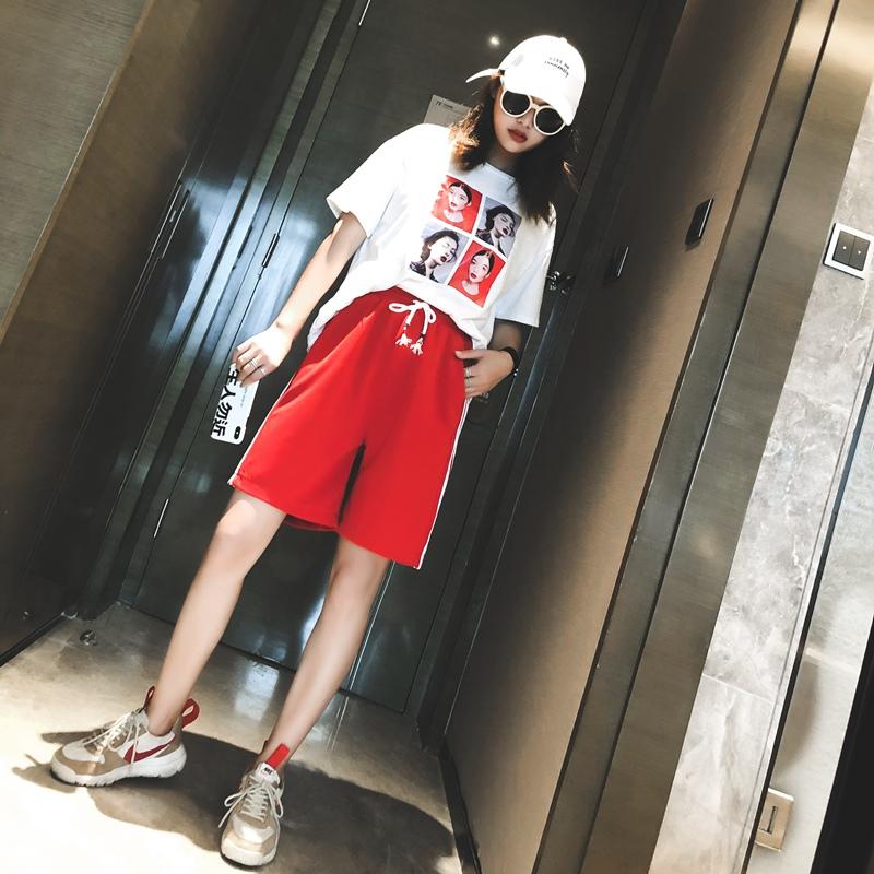 2019新款韩版运动短裤女夏宽松高腰五分裤直筒休闲中裤大码潮外穿