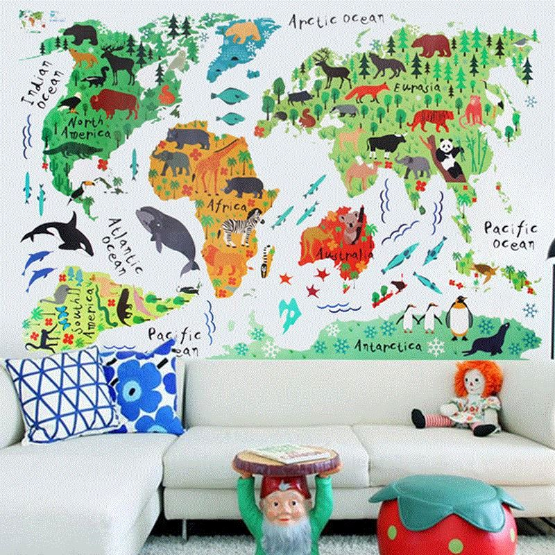 on sale colorful animals world map wall sticks for kids ro