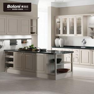 博洛尼定制厨房整体橱柜欧式烤漆柜面石英台面组合收纳定做多莫斯