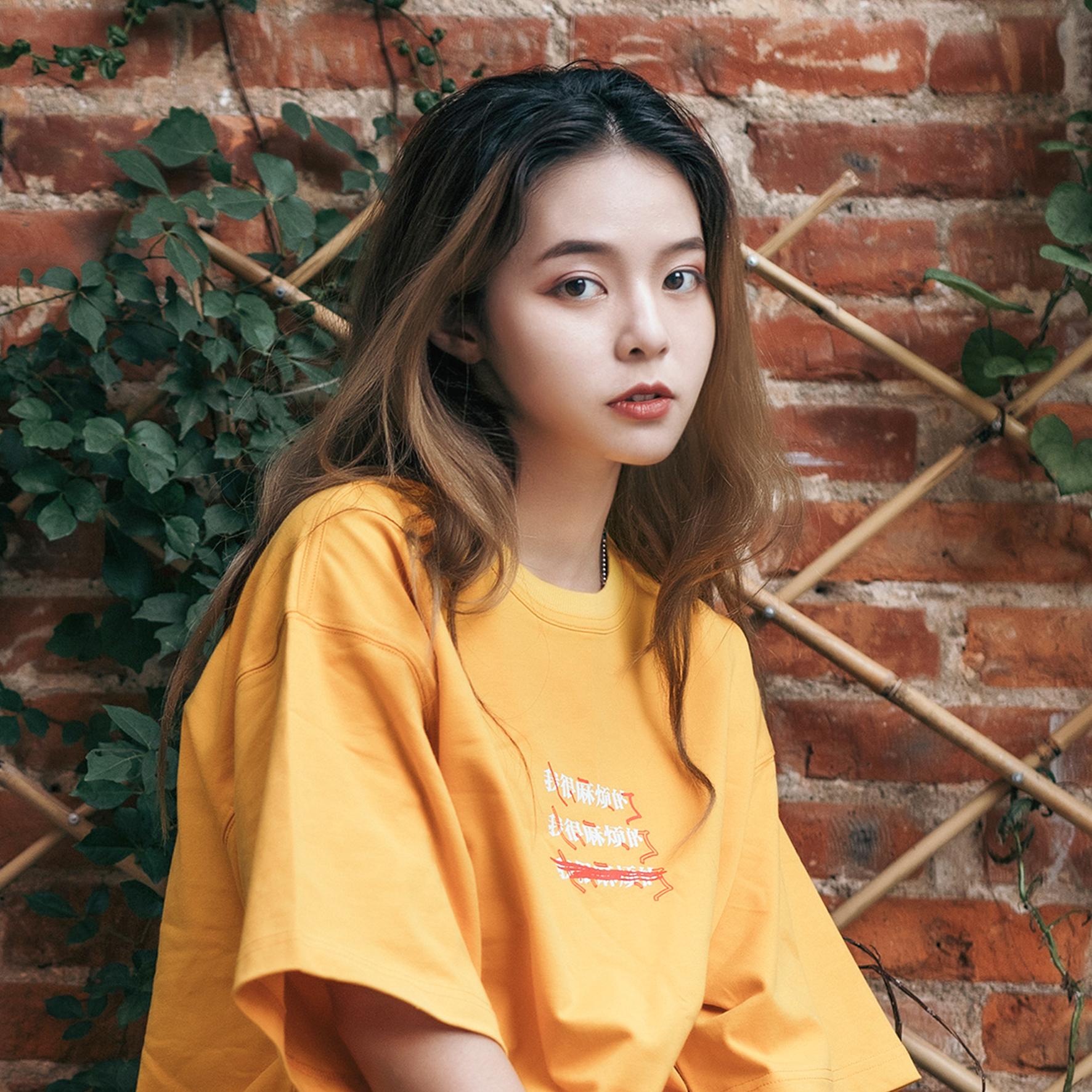 2019新款短袖T恤情侣装青春流行夏季潮流宽松美棉上衣黄色印花