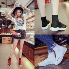 2018 Spring New Sports shoes Female Summer Korean ulzzang Knitted Thick-soled Student Joker Stretch socks shoes