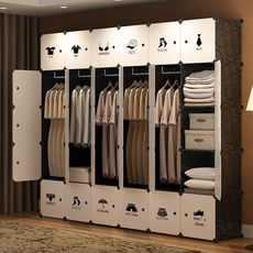 Renting Wardrobe Simple Cloth Wardrobe Assembly Cloth Detachable Assembly Dormitory Storage Cabinet Rental House Hanging Coat Plastic