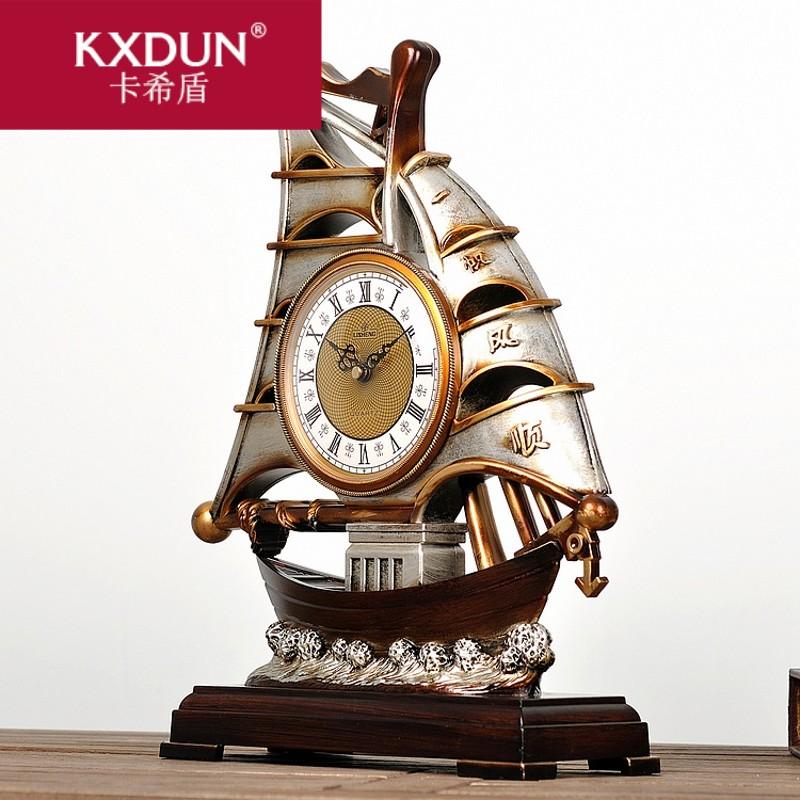 KXDUN/卡希盾复古美欧式座钟装饰台钟一帆风顺古船钟表仿古bs0310