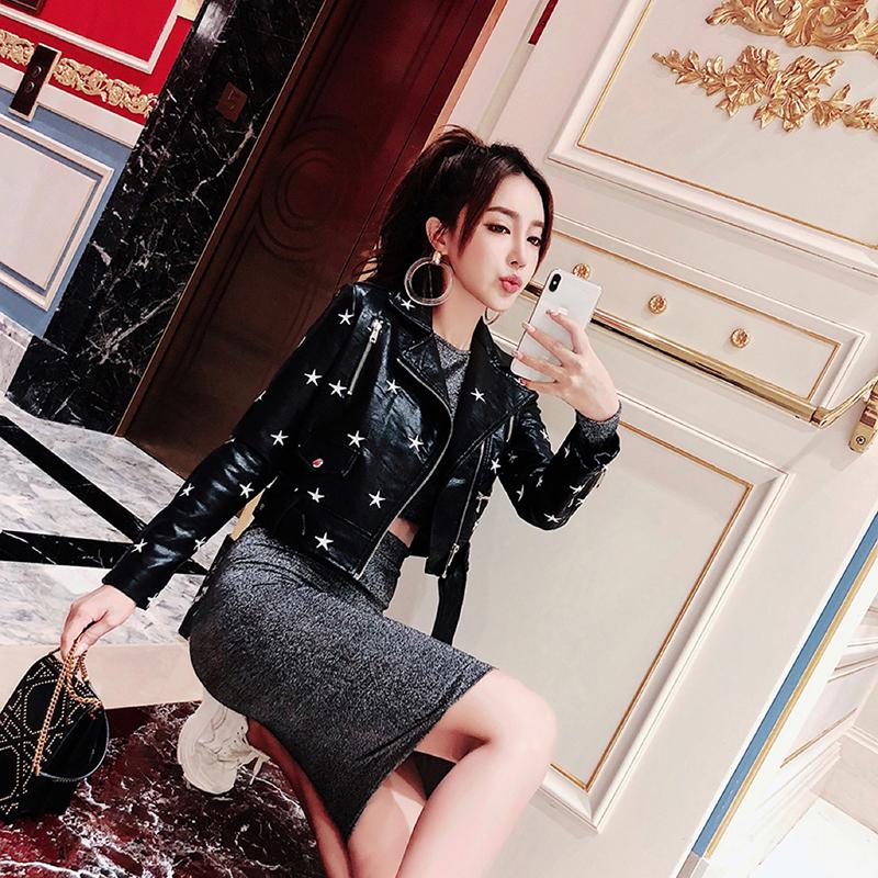 枪枪家2019秋装新款欧美街头时尚短款修身机车外套女星星刺绣皮衣