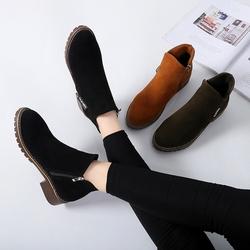 2018新款小短靴女秋冬季韩版百搭侧拉链加绒短筒马丁靴女靴子女鞋