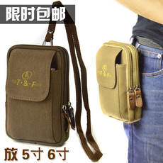 5 inch 6 inch mobile phone bag men's shoulder canvas outdoor climbing multi-function belt purse hanging sale