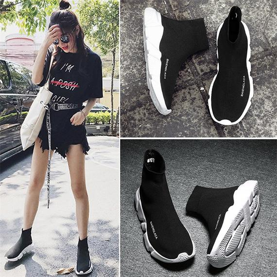 2018 spring new elastic socks shoes female Korean version of ulzzang wild sports casual shoes high to help women summer