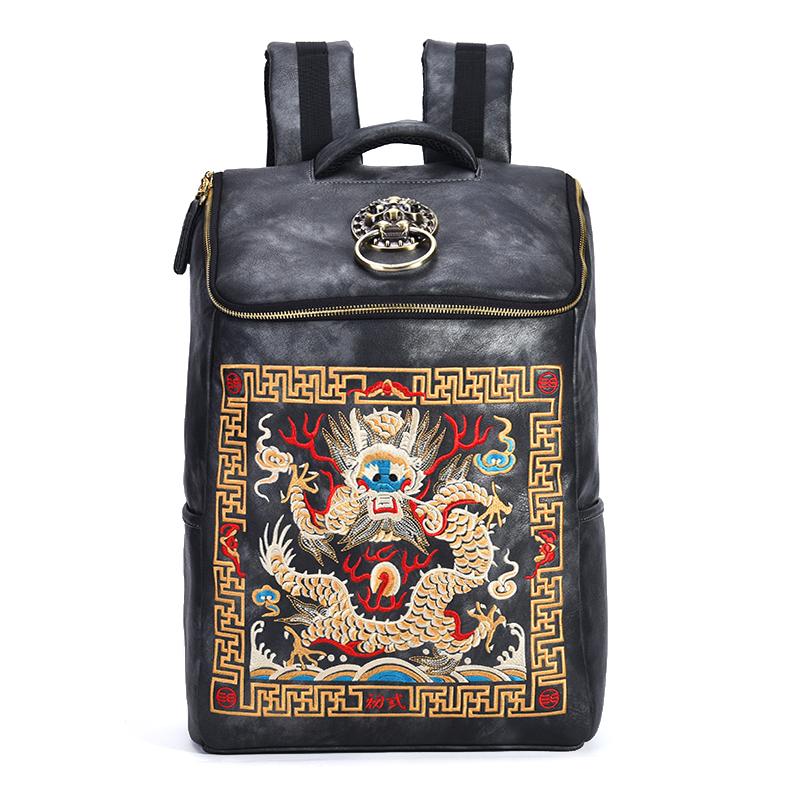 【自营】初弎中国风潮牌狮子头官服刺绣双肩背包男学生书包41129