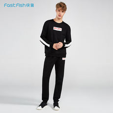 Fast fish autumn men's autumn suit 2018 new sports casual early autumn sweater men's tide clothing Korean two-piece