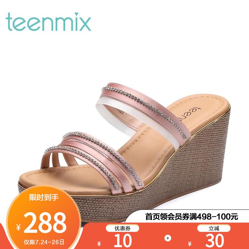 天美意夏钻饰多条带优雅坡跟女拖鞋CC405BT8